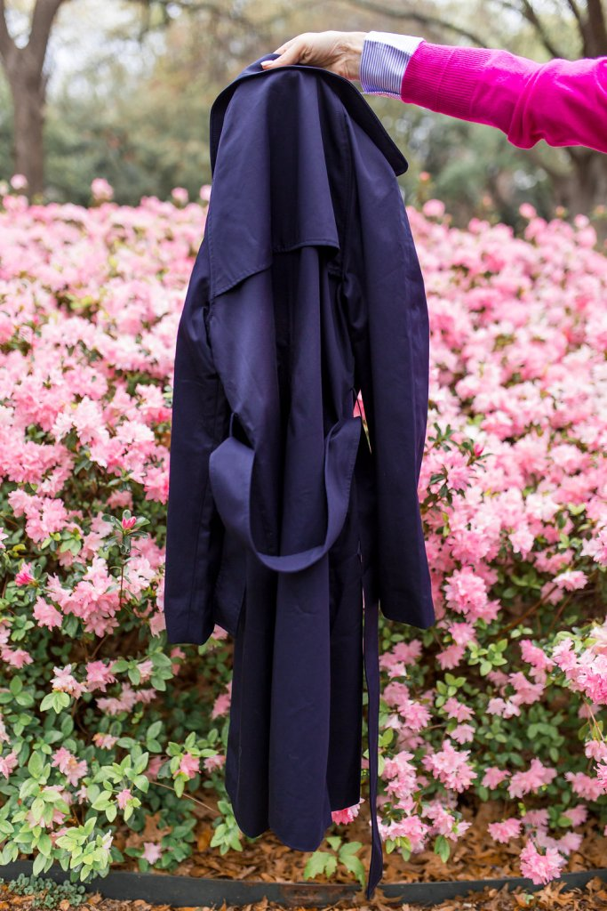 The Everlane drape trench coat in navy with $100 cashmere crew sweater and relaxed cotton top.