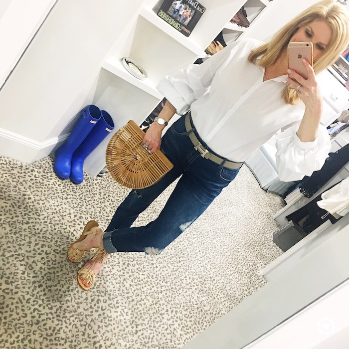 White shirt, distressed jeans and cult gaia bag
