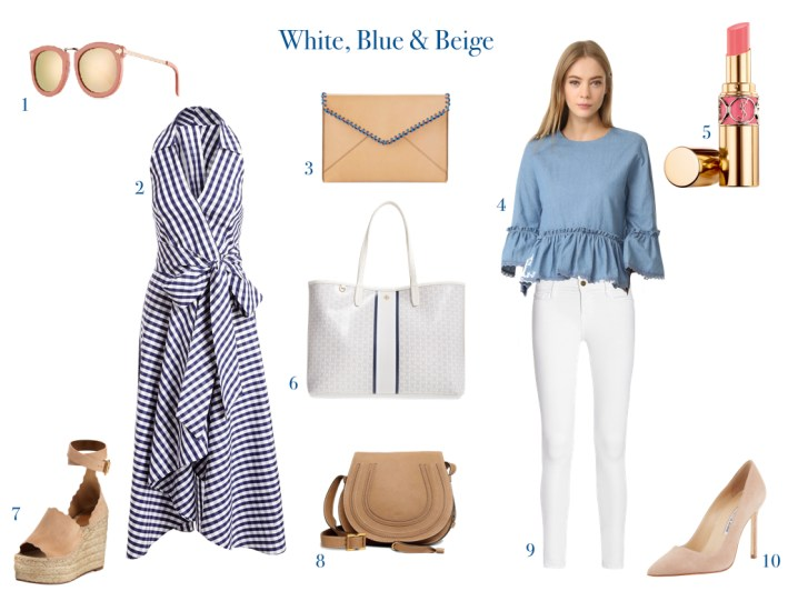 Combining several pieces to mix and match with white, blue and beige on TanyaFoster.com