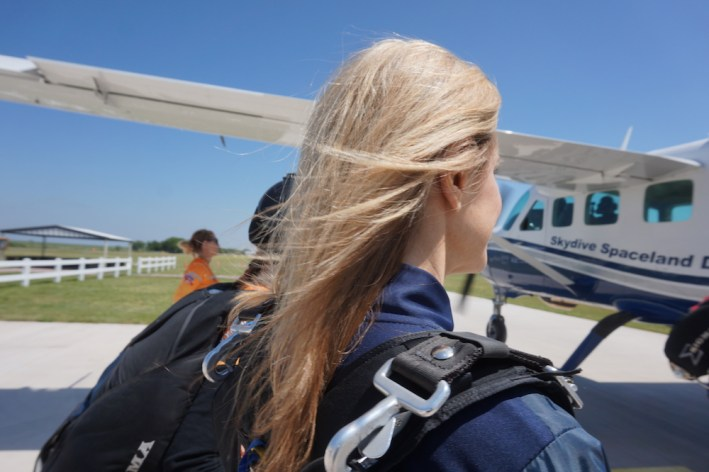 Tanya Foster details her first skydive. Bombshells dive for Birdseye View Project raising money for charity