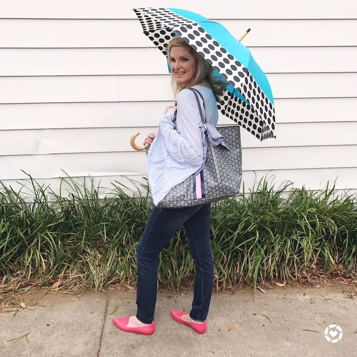 Tanya Foster with a ShedRain umbrella