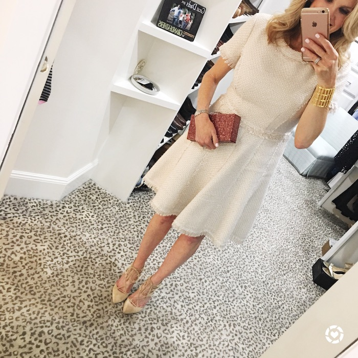 Tweed dress from Eliza J with Charlotte Max clutch bag