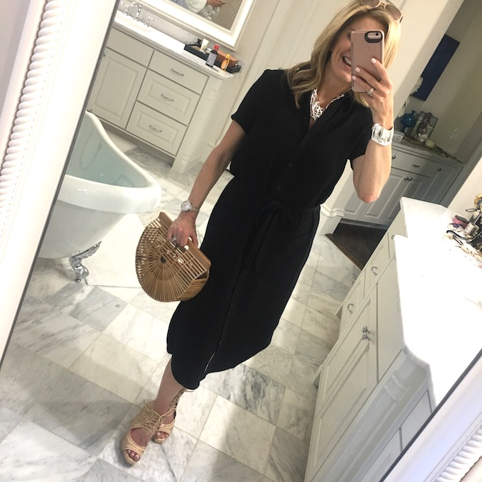 Black wrap dress from Rachel Parcel with Cult Gaia Ark bag