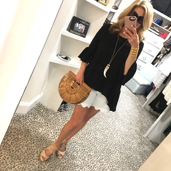 Nordstrom black top with white scallop shorts from Talbots