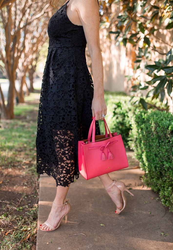 Tanya Foster shoes us how to wear a lace dress from Nordstrom this spring with Kate Space pink bag.