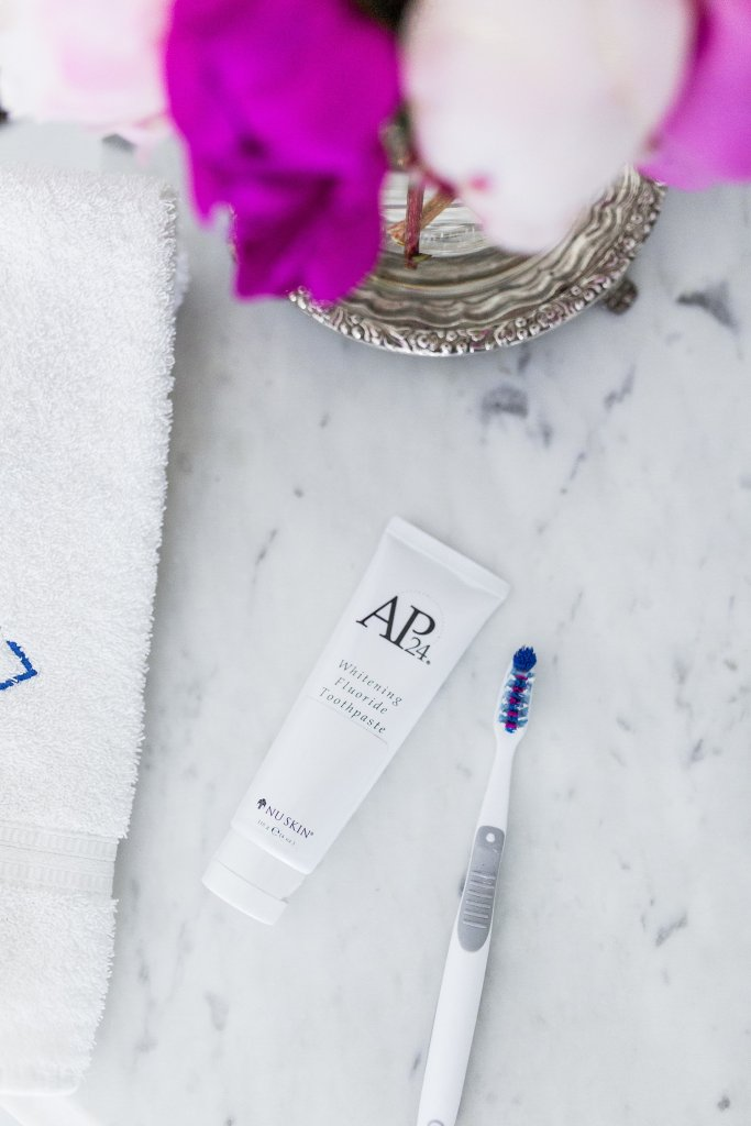 Trying AP-24 whitening fluoride toothpaste by Nu Skin on TanyaFoster.com