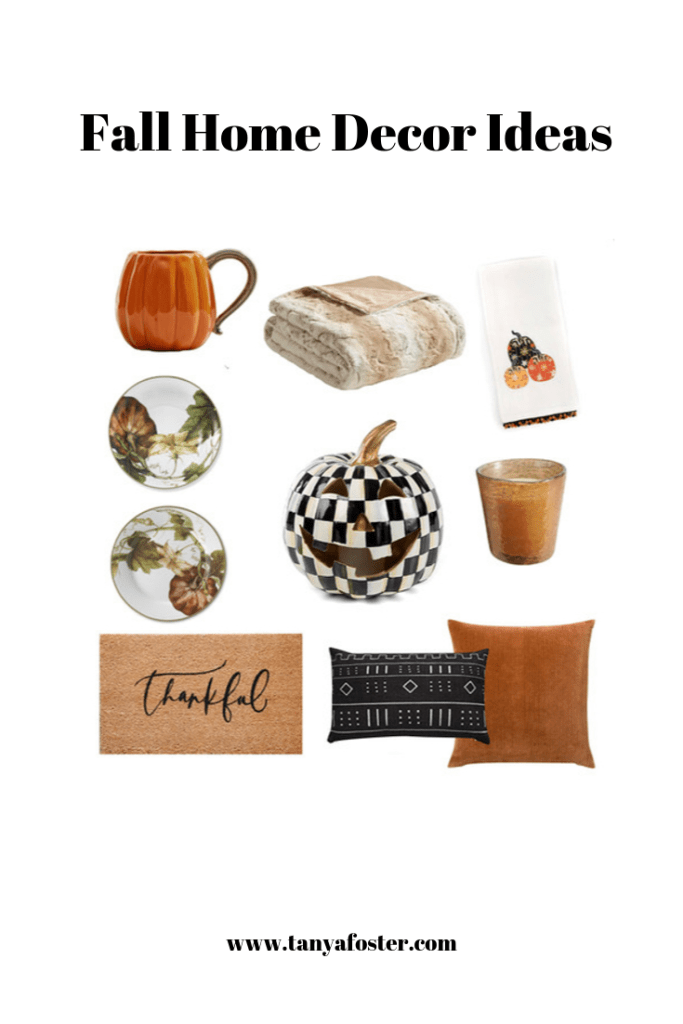 Fall Home Decor 2019 | 2019 Fall Home Decor Ideas by popular Dallas luxury life and style blogger, Tanya Foster: collage image of Etsy Proper Letter Thankful Doormat, Target Marselle Oversized Faux Fur Throw, Mackenzie Childs Pumpkin Party Dish Towel, Pottery Barn PUMPKIN SHAPED MUG, Mackenzie Childs Courtly Check Illuminated Jack O' Lantern, Williams Sonoma Botanical Pumpkin Dinner Plates, and Williams Sonoma Botanical Pumpkin Salad Plates.