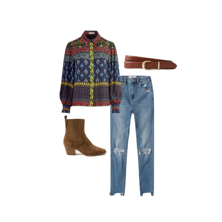 Alice + olivia blouse with abercrombie jeans and boots