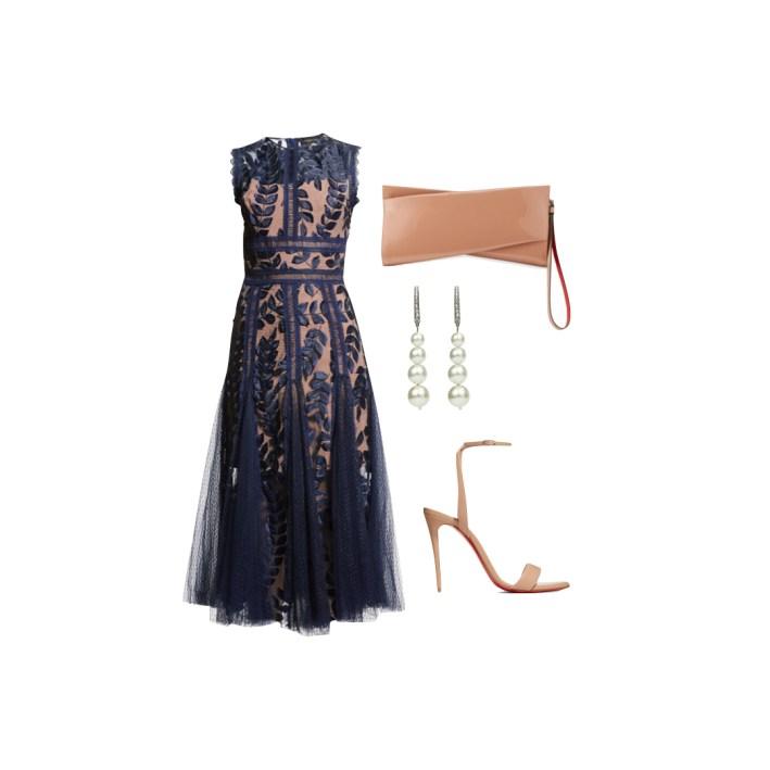 Bronx and Banco saba midi dress with christian loubutin shoes and accessories