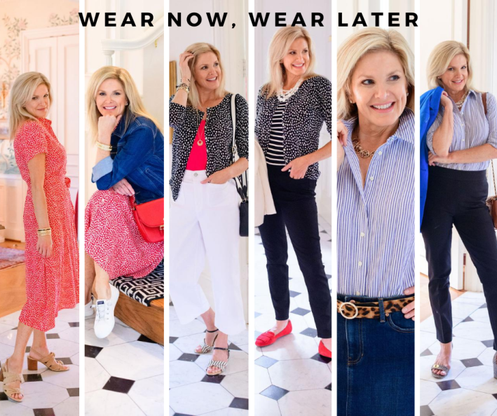 wear now, wear later with talbots six looks collage image