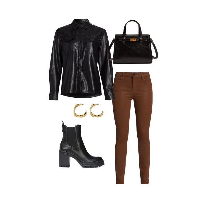 good american faux leather top with paige coated skinny jeans tory burch boots and accessories