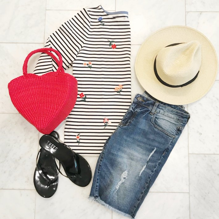 This floral & stripe top and Shicato straw heart bag are great for a Caribbean vacation