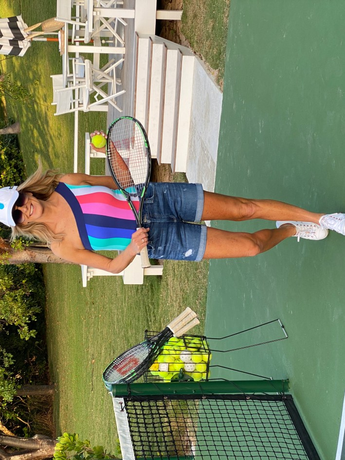 Tanya Foster holding a tennis racket