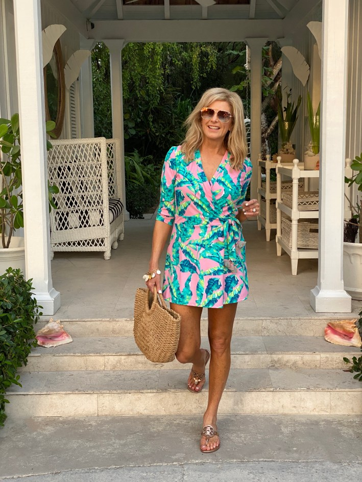 Tanya Foster wearing a print romper from Cabana Life in the Bahamas