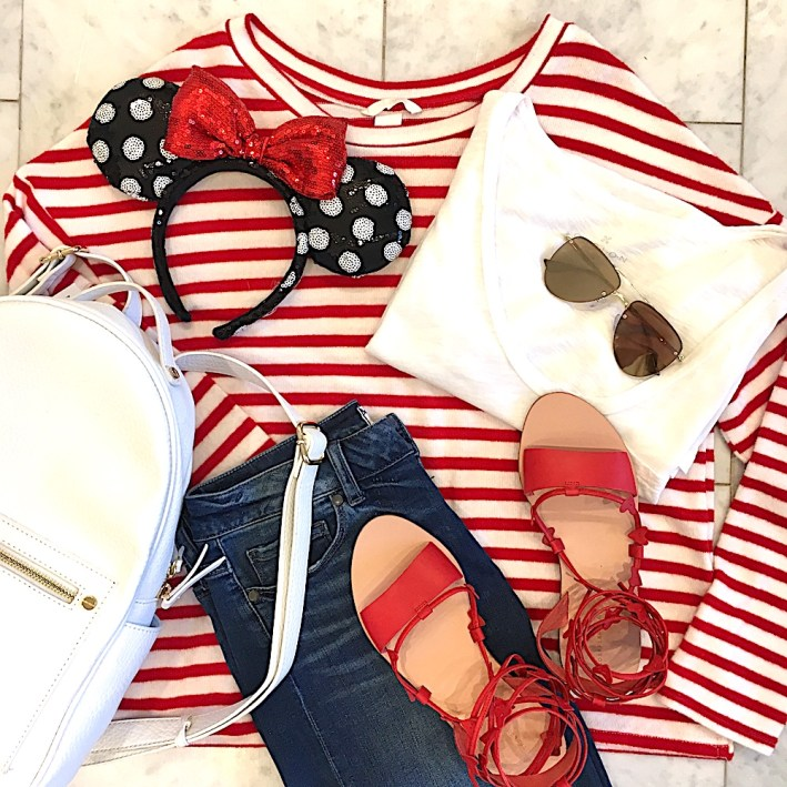 shorts, red and white stripe sweater, red sandals