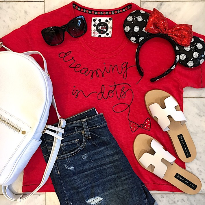 Disney Style t-shirt with shorts, white sandals and white back pack