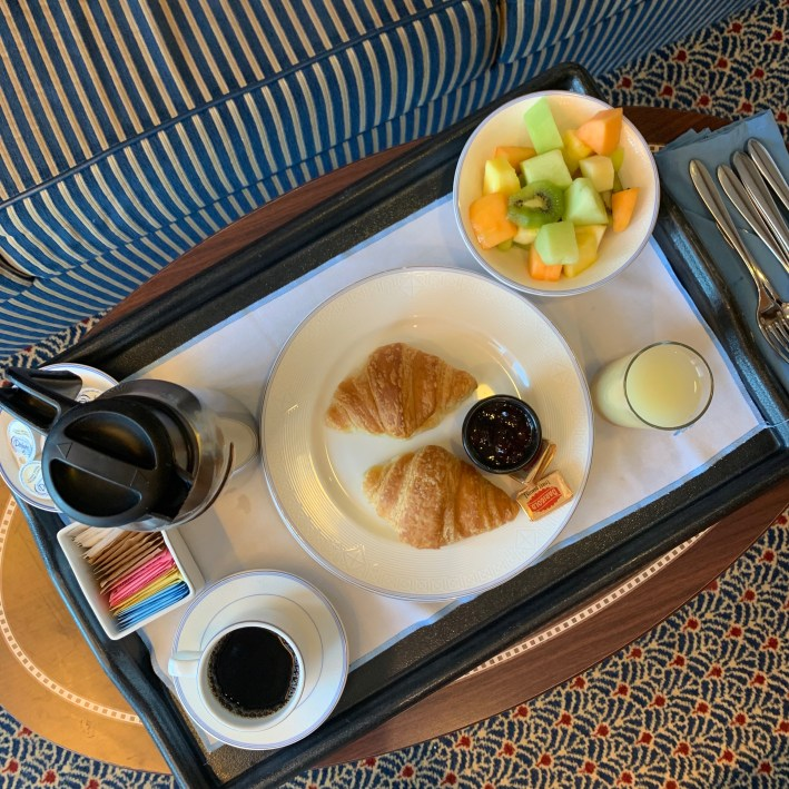 Top 10 Reasons to Book a Disney Cruise to Alaska featured by top US travel blogger, Tanya Foster: image of In room dinning on the Disney Wonder is available 24/7