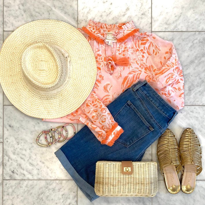sail to sable blouse with straw hat allie + bess bracelets talbots girlfriend denim shorts tuckernuck clutch and cecelia ny sandals