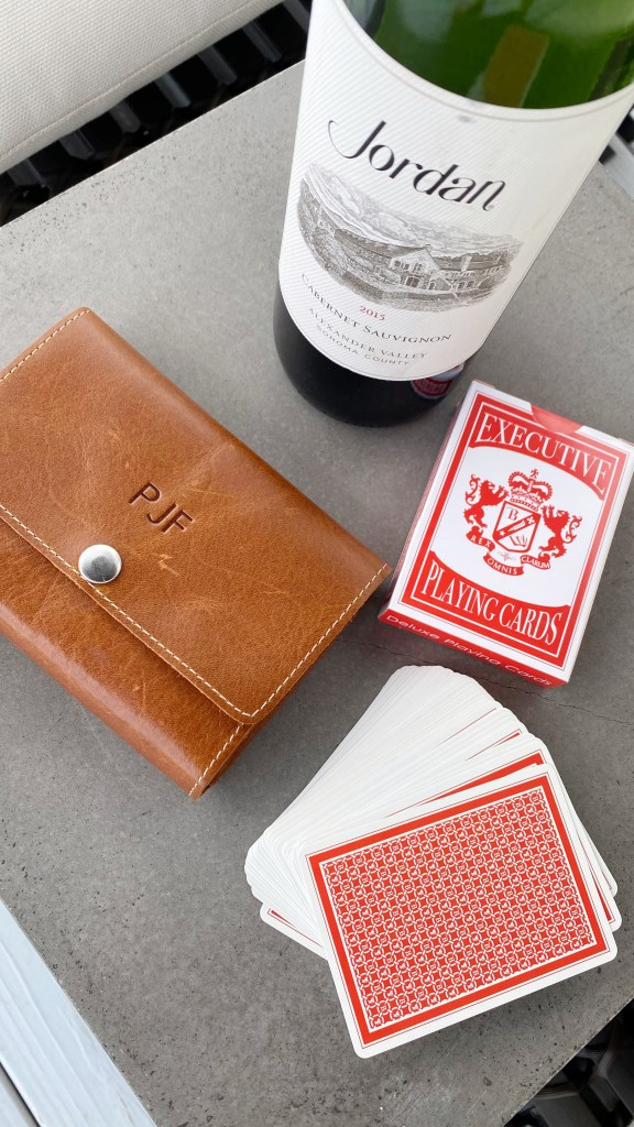 Jordan wine and playing cards
