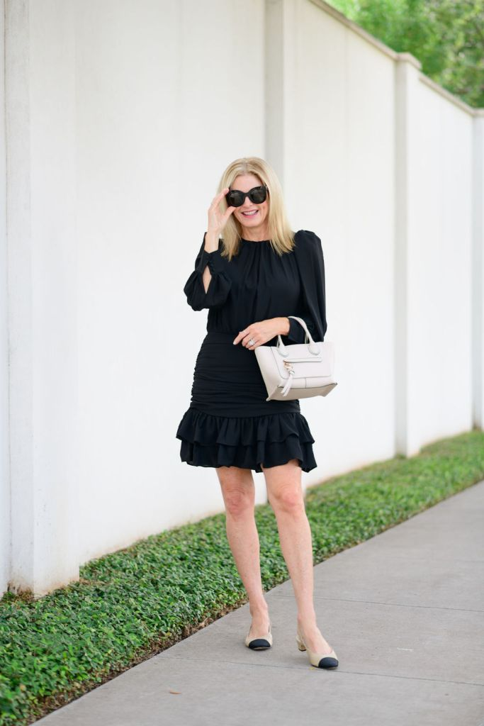 Tanya Foster wearing avara black dress