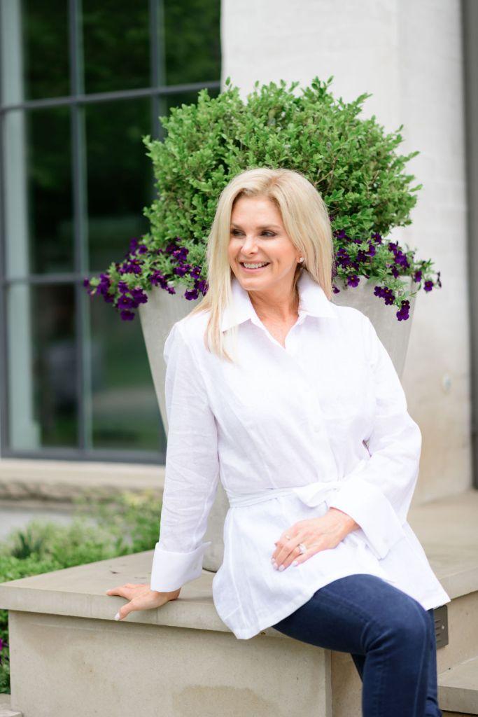 Tanya Foster wearing Ala von Auersperg white linen tunic top