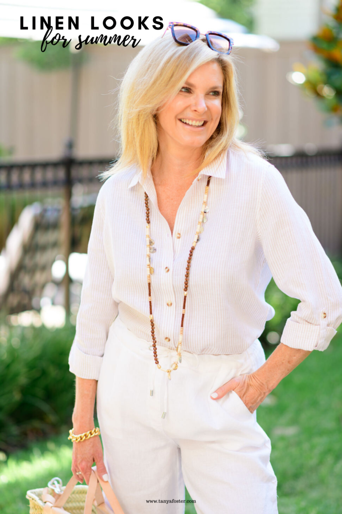Tanya Foster in white linen blouse and shorts from chicos