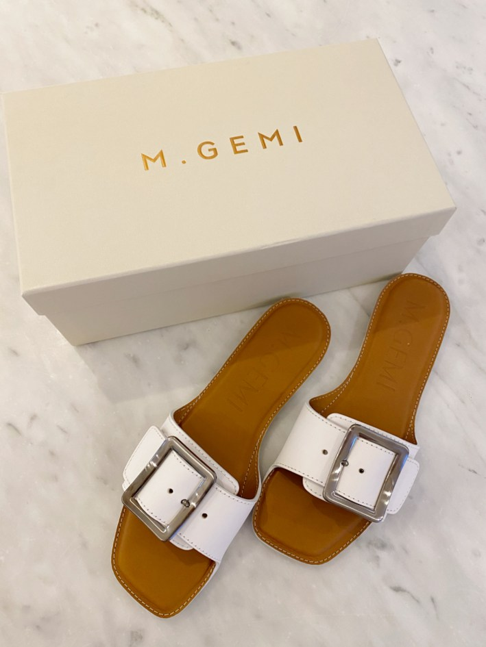M. Gemi the opanca white slide sandals