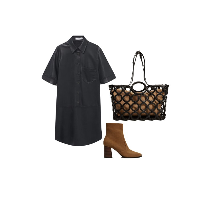 Mango faux leather dress and accessories