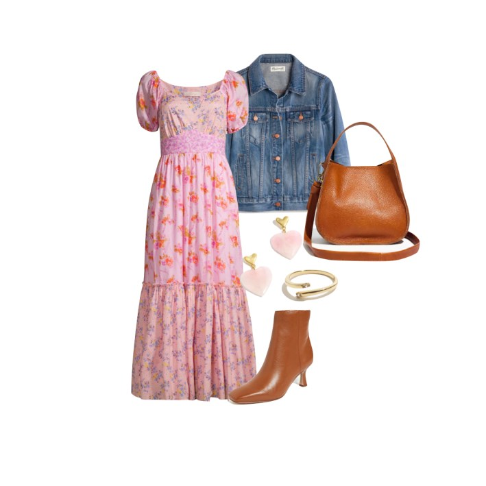 love shack fancy maxi dress with lizzo booties madewell denim jacket and accessories
