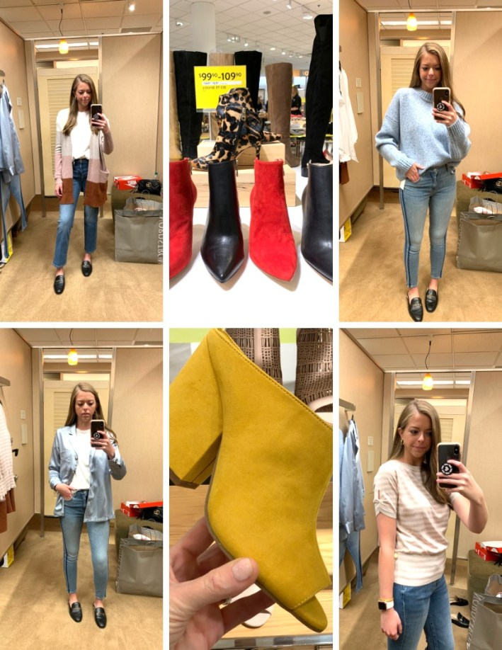 Top US fashion blogger, Tanya Foster shops the Nordstrom Anniversary Sale: image ofRamsey Pittman tries on items from the Nordstrom Anniversary Sale