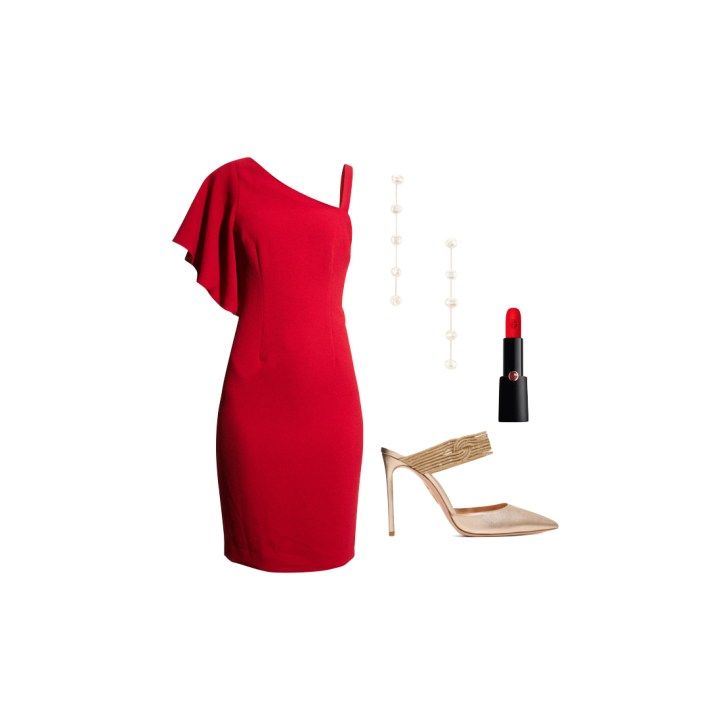 Trina Turk red dress and accessories