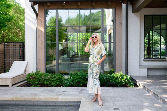 Tanya Foster wearing chico's tropical print kimono-style maxi dress