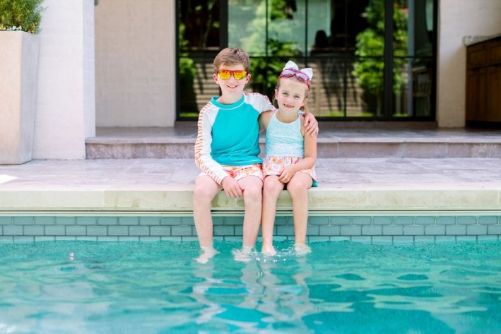 boy and girl in cabana life swimwear