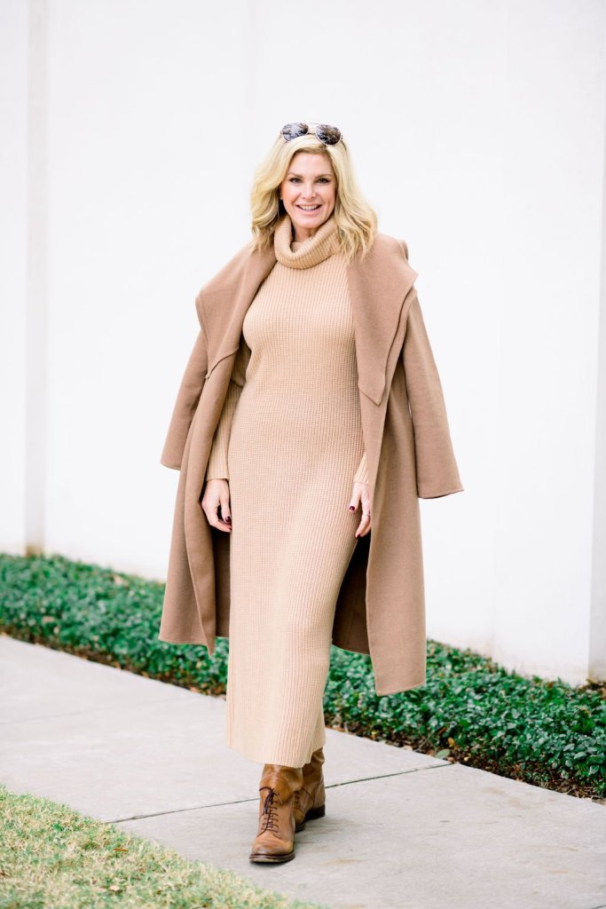 TAnya foster in camel color sweater dress with chico's double collar wool blend wrap coat and boots