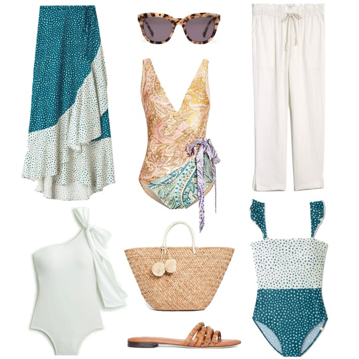 one piece swimsuits sandals and cover ups