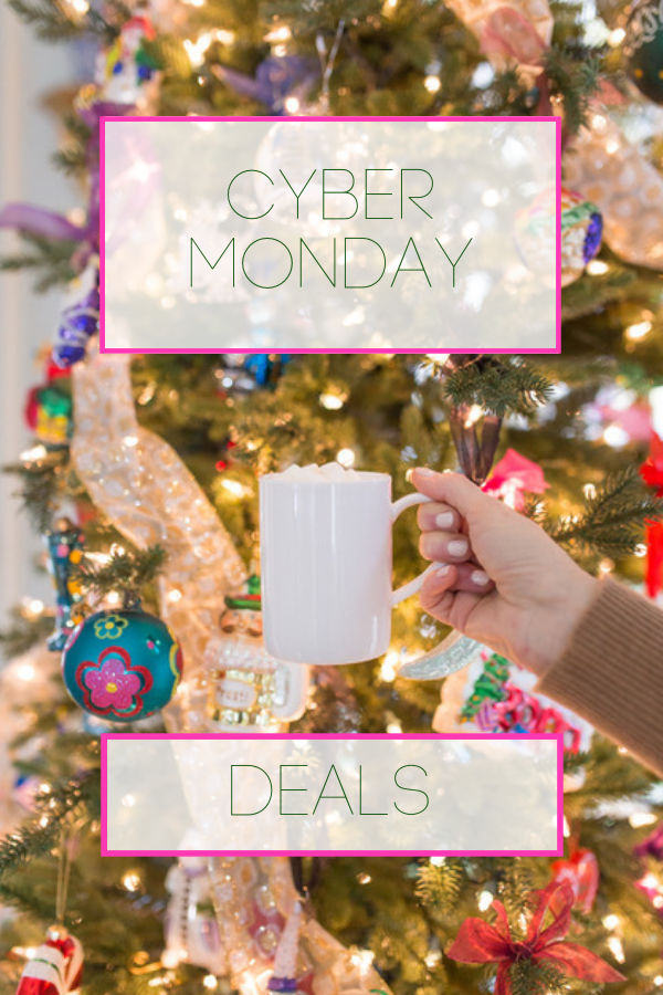 Cyber Monday sales Christmas tree with white coffee mug