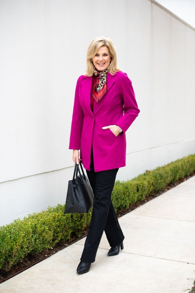 Red + Pink Chico's turtleneck, blazer and NYDJ