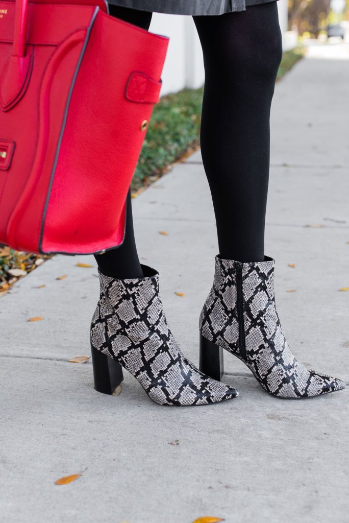Ankle boots, Spanx tights and a Celine red bag