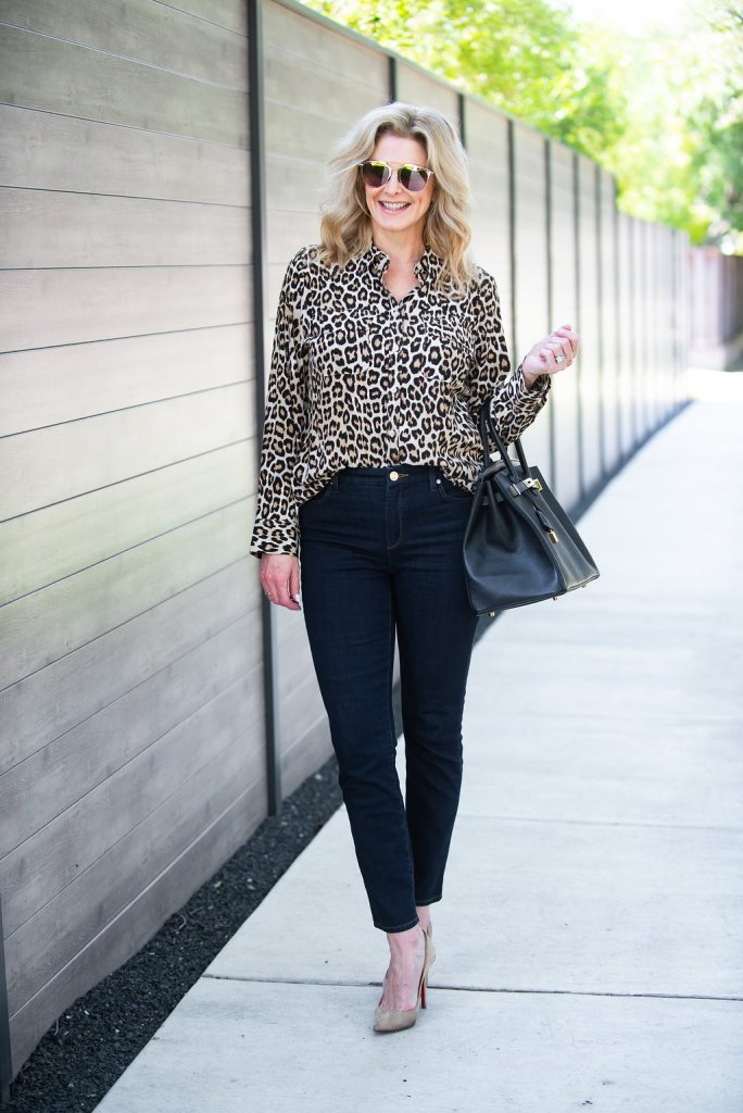 Chico's leopard print blouse with Chico's Girlfriend ankle jeans in dark wash, Hermes Birkin bag and Christian Louboutib shoes