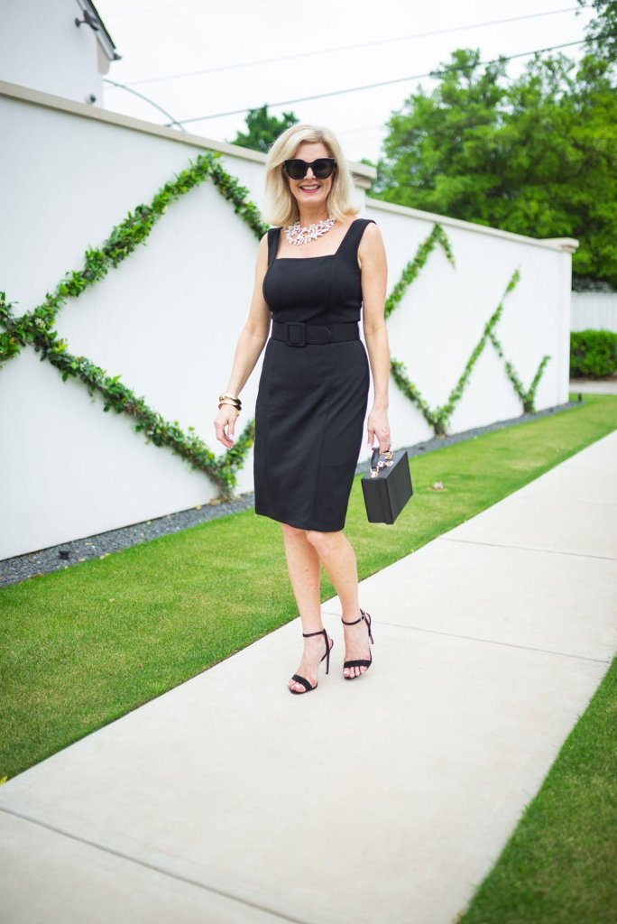 Tanya Foster in Harper Rose black belted sheath dress
