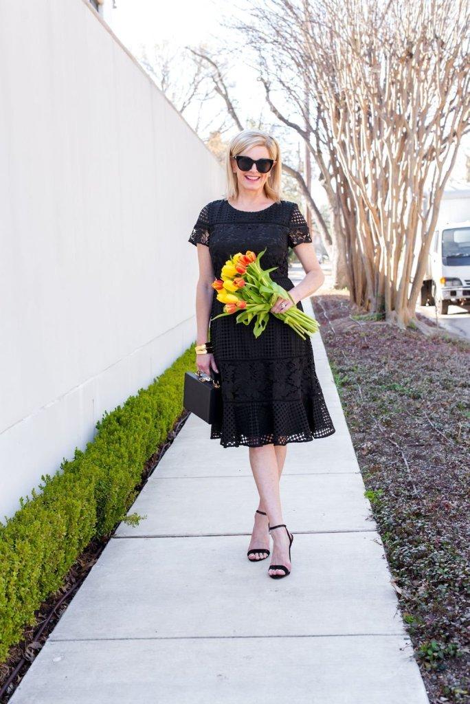 Tanya Foster Wearing Talbots Black Dress for Spring