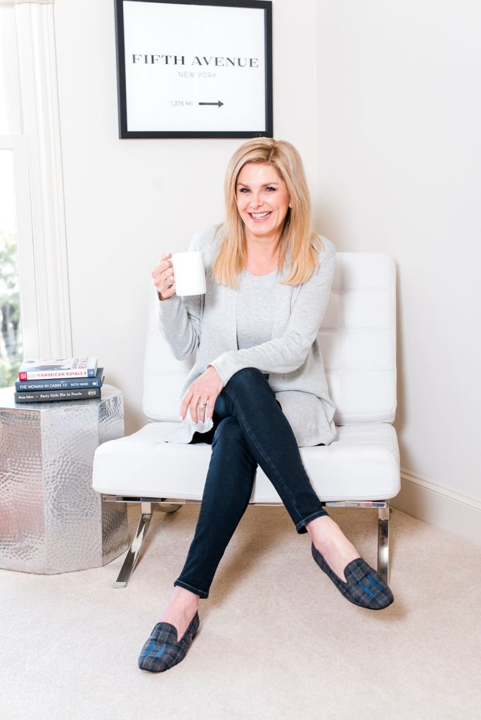 tanya foster sitting with a mug while being a homebody
