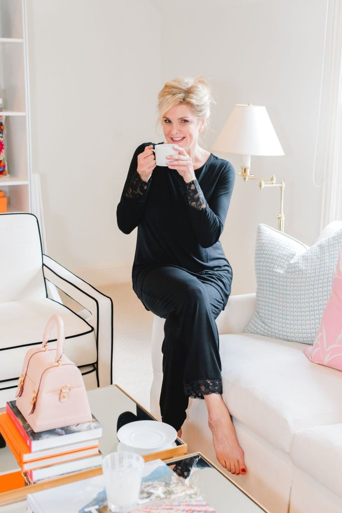 7 Ways to relax | 7 Easy Ways to Relax by popular Dallas life and style blogger, Tanya Foster: image of a woman sitting on her couch and drinking a cup of coffee.