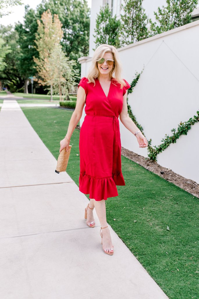 Reformation red wrap dress with nude Schutz shoes
