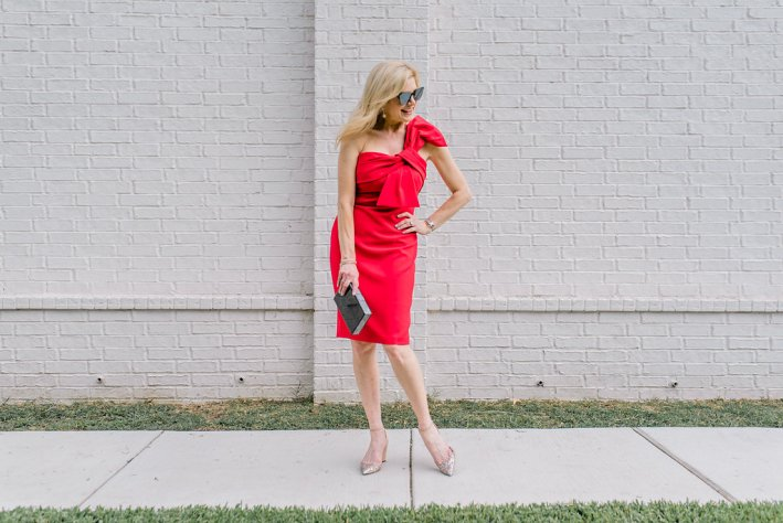 Tanya Foster wears an Eliza J cocktail dress from Nordstrom. Red cocktail dress.