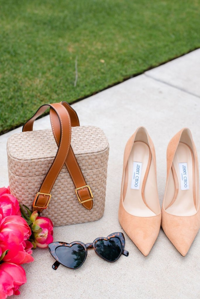 ODP Picnic bag with Jimmy Choo nude pumps and heart shape glasses