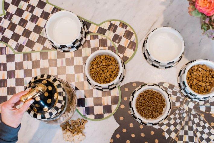 serving pets dinner in mackenzie-childs bowls