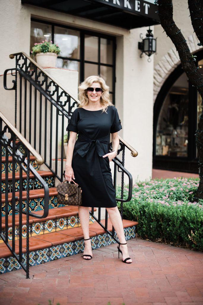 Donna Karan black dress with black strappy sandal from Blommingdale's