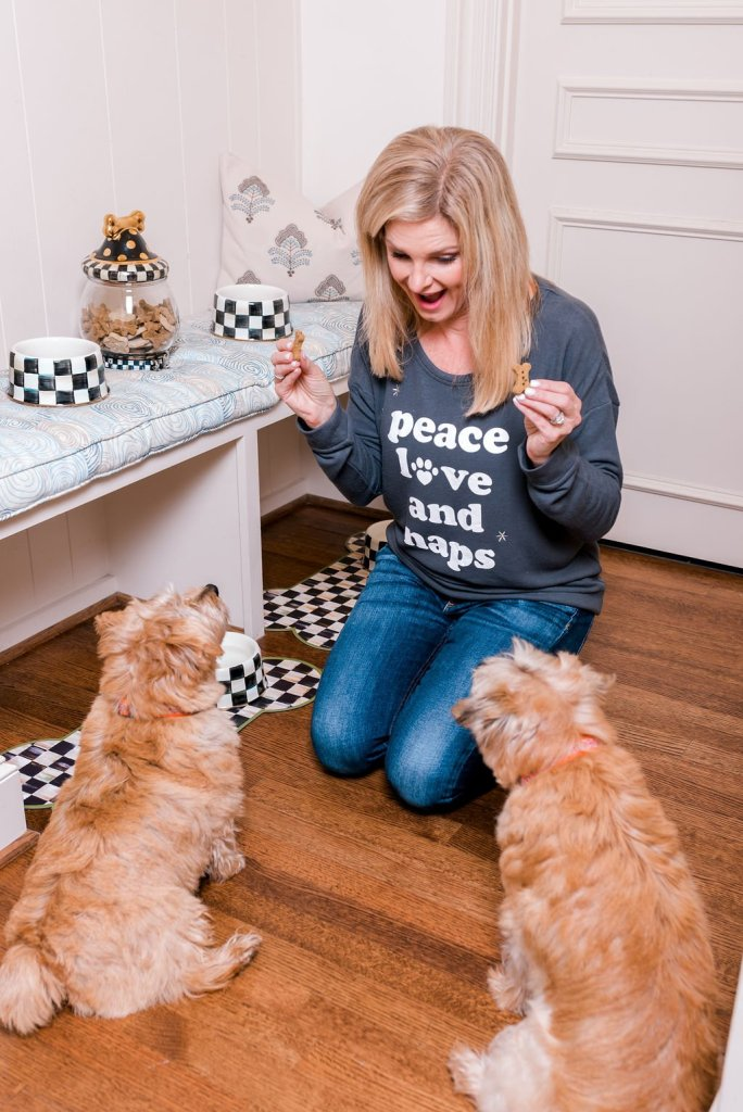 Tanya Foster feeding treats to her dogs