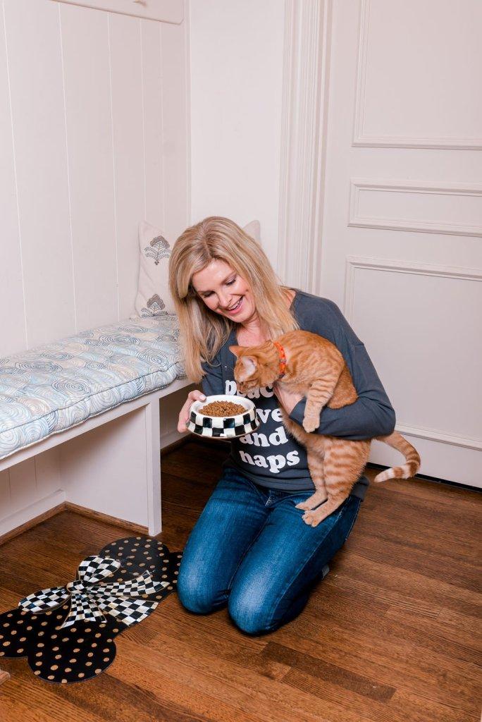 Tanya Foster feeding her cat